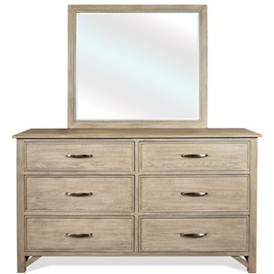 Contemporary Rustic Dresser and Mirror Set