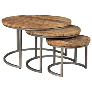 Rustic Nesting Cocktail Table Set with Reclaimed Wood Tops