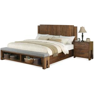 King Low Profile Panel Bed w/ Bench