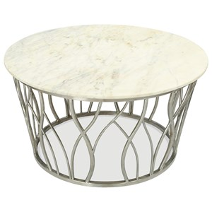 Transitional Round Cocktail Table with Marble Top and Stainless Steel Base