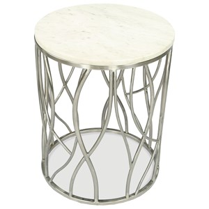 Transitional Round End Table with Marble Top and Stainless Steel Base