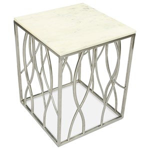 Transitional Square End Table with Marble Top and Stainless Steel Base