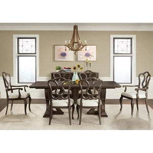 7 Piece Trestle Table and Splat Back Upholstered Chair Set