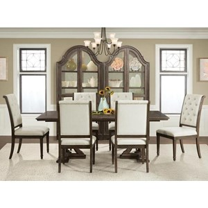 7 Piece Trestle Table and Button Tufted Chair Set