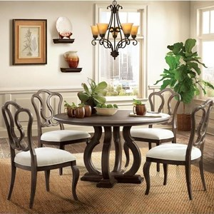 5 Piece Round Table and Splat Back Chair Set