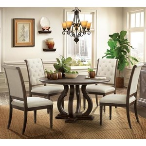 5 Piece Round Table and Button Tufted Chair Set