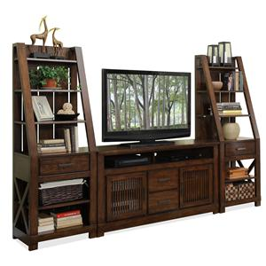2 Pier Entertainment Wall Unit With Adjustable Shelving