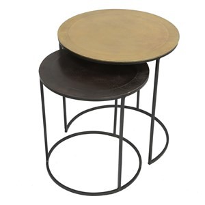 Industrial 2 Piece Nesting Side Table with Mixed Metal