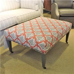 Traditional Style Accent Ottoman with Tapered Wood Legs and Casters