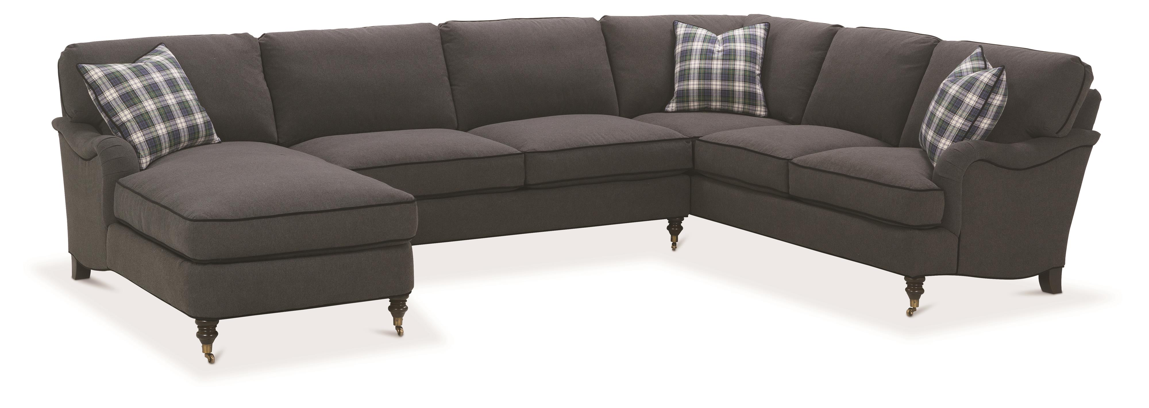 Brooke Sectional Sofa with Castered Turned by Robin Bruce at Saugerties Furniture Mart