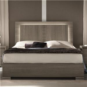 King Weathered Grey Bed with Built-In LED Light