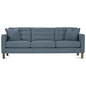 Upholstered Three-Seat Sofa with Wood Legs