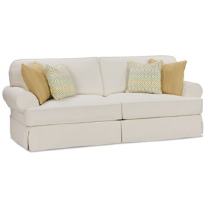 Traditional 2 Seat Sofa With Slipcover and Welting