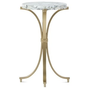 Gold Metal Spot Table with Round Carrara Marble Top