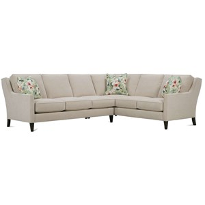 Contemporary 5 Seat Sectional with Scooped Arms