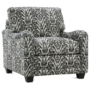 Customizable Chair with English Arms, Tapered Feet and Boxed Back Cushion
