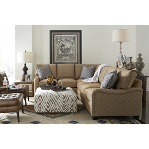 Customizable Sectional Sofa with English Arms, Tapered Legs and Knife Style Cushions