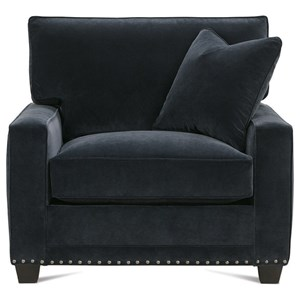 Customizable Chair with Track Arms, Tapered Feet and Boxed Back Cushion