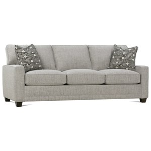 Customizable Sofa with Track Arms, Tapered Legs and Boxed Back Cushions
