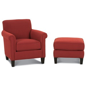 McGuire Upholstered Chair and Ottoman