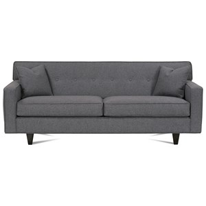Small Button Tufted Sofa with Exposed Wood Feet
