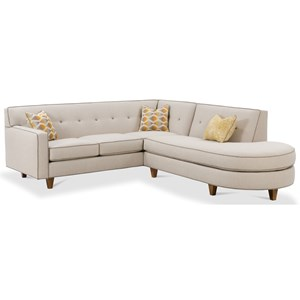 Contemporary 2 Piece Sectional Sofa with Tufted Back