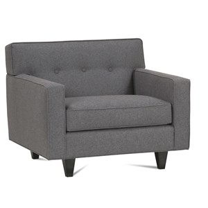 Upholstered Chair with Exposed Wood Feet & Button Tufted Back
