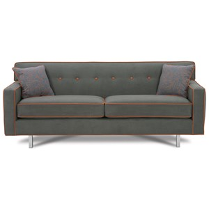 "80"" 2-Cushion Queen Size Bed Sofa with Chrome Legs"