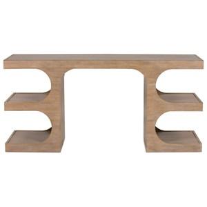 Rift Cut Oak Veneer Console/Desk with 4 Open Shelves