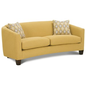 Contemporary Sofa with Flared Track Arms and Wood Feet