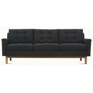 Mid-Century Modern Sofa with Tufted Back Pillows