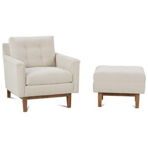 Mid-Century Modern Chair and Ottoman Set