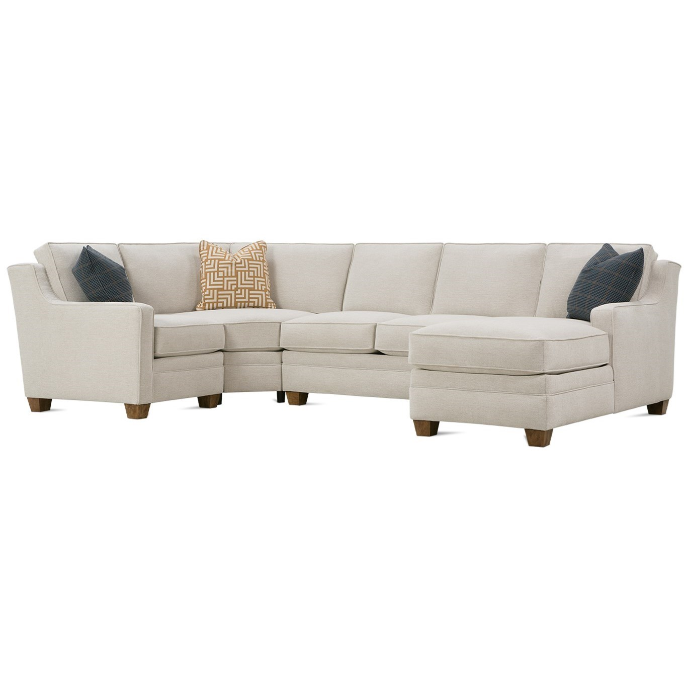 Fuller 4-Piece Sectional with RAF Chaise by Rowe at Baer's Furniture