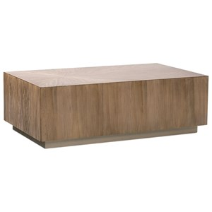 Quartered Primavera Rectangular Cocktail Table with Plinth Base