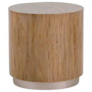 Quartered Primavera Round End Table with Plinth Base