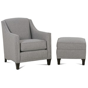 Upholstered Chair & Ottoman with Exposed Wood Feet