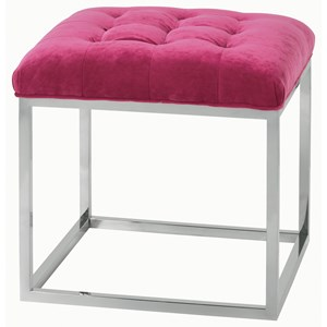 Contemporary Cube Ottoman with Tufted Seat and Metal Base