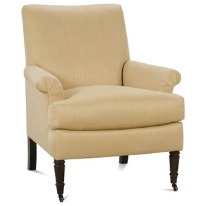 Traditional Accent Chair with Rolled Arms and Tight Seat Back