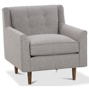 Chair with Button Tufting and Exposed Wood Legs