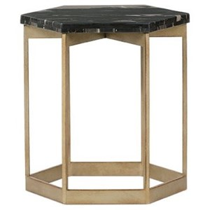 Metal End Table with Marble Top