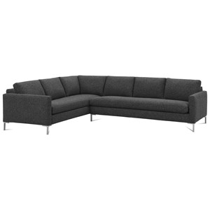 Contemporary Sectional Sofa with Straight Chrome Legs