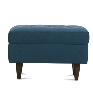 Contemporary Ottoman with Tapered Wood Feet