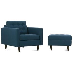 Contemporary Chair and Ottoman with Tapered Wood Feet