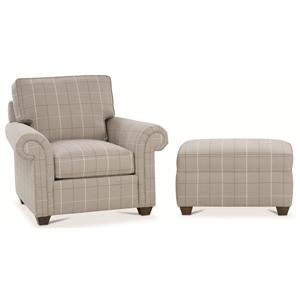 Rowe Morgan Traditional Chair and Ottoman Set