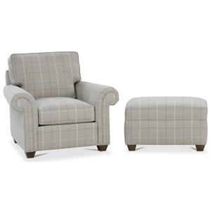 Traditional Chair and Ottoman Set
