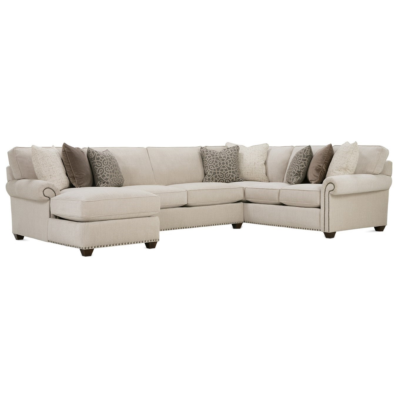 Morgan Traditional Three Piece Sectional Sofa by Rowe at Wilson's Furniture