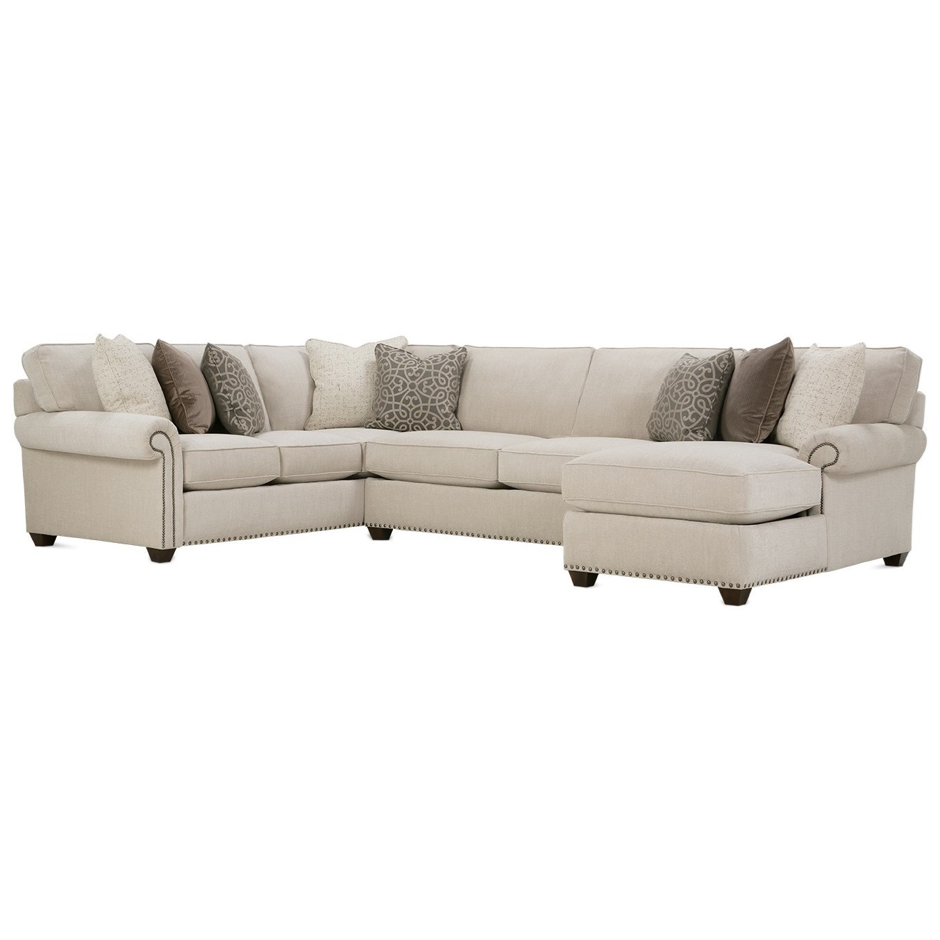 Morgan Traditional Three Piece Sectional Sofa by Rowe at Baer's Furniture