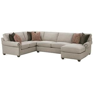 Traditional Three Piece Sectional Sofa with Chaise