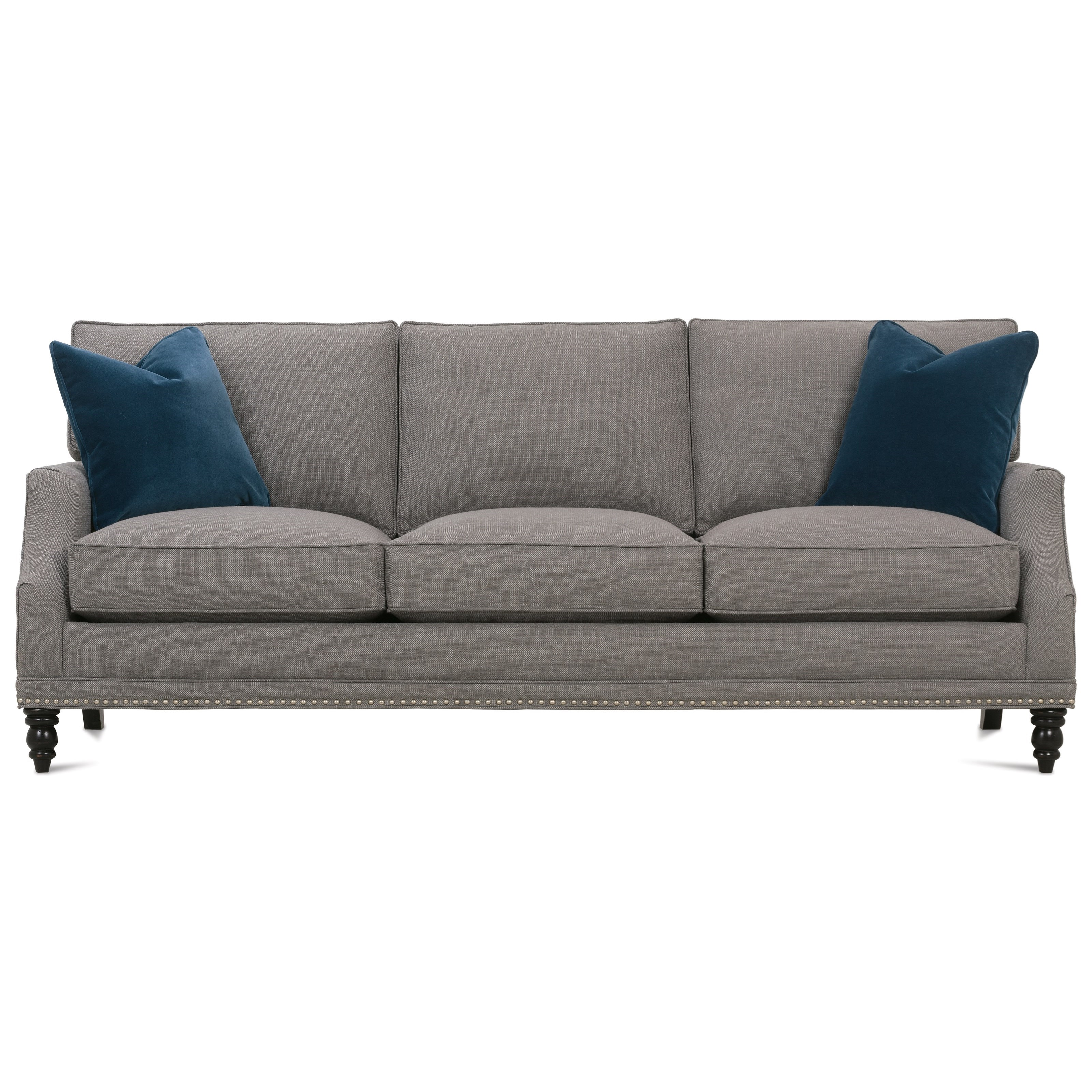 My Style II Customizable Transitional Sofa Turned Legs by Rowe at Baer's Furniture