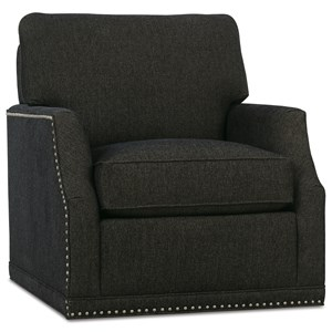 Customizable Chair with Scooped Arms, Swivel Base and Knife Edge Back Cushion